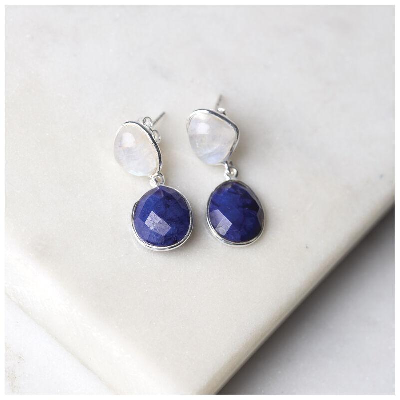 Rainbow Moonstone & Sapphire Double Drop Earrings -  blue-silver