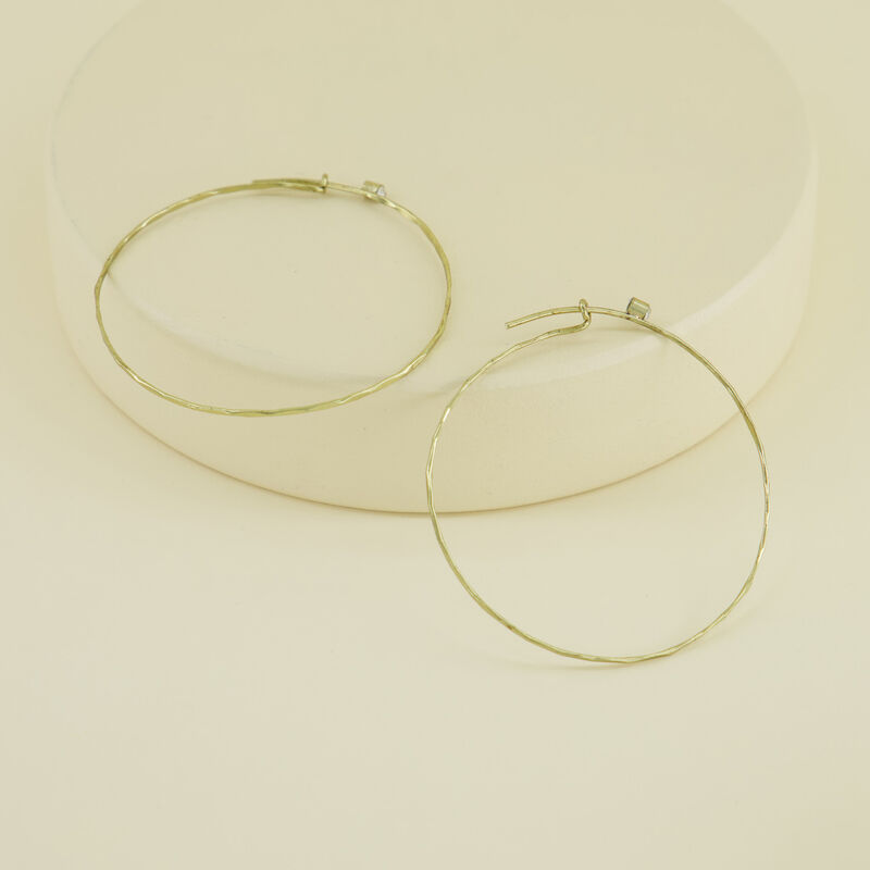 Delicate Large Hoop Earrings with Stones -  gold