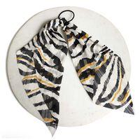 Striped Hair Tie -  milk-black