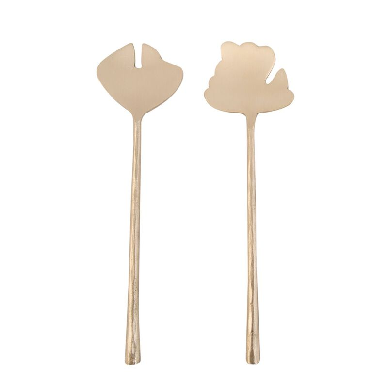 Leaf Salad Server Set -  gold
