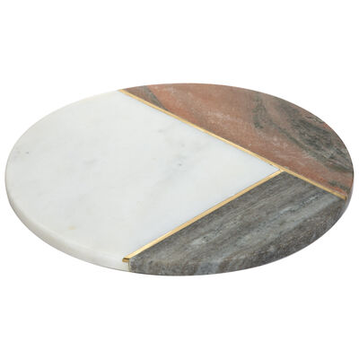 Pink and White Marble Round Board