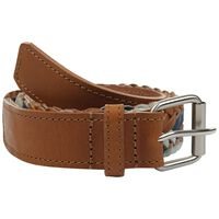 Zita Plaited Leather Belt -  tan-navy