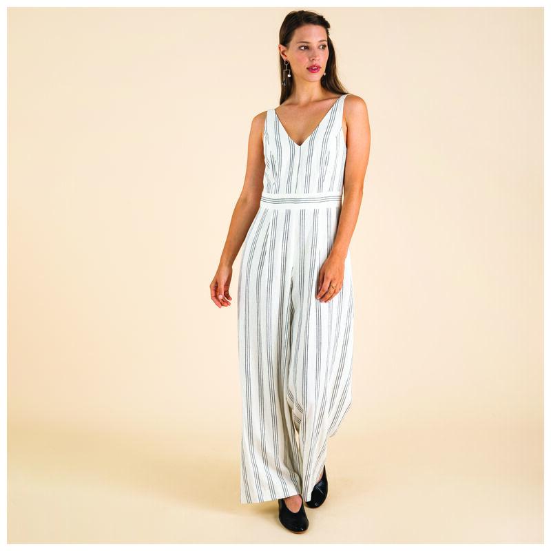 Delia Stripe Jumpsuit -  white