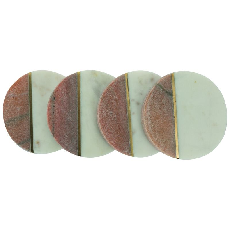 White Marble and Brass Coaster Set of Four -  pink-white
