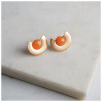 Stone & Semi Circle Stud Earrings -  gold-yellow