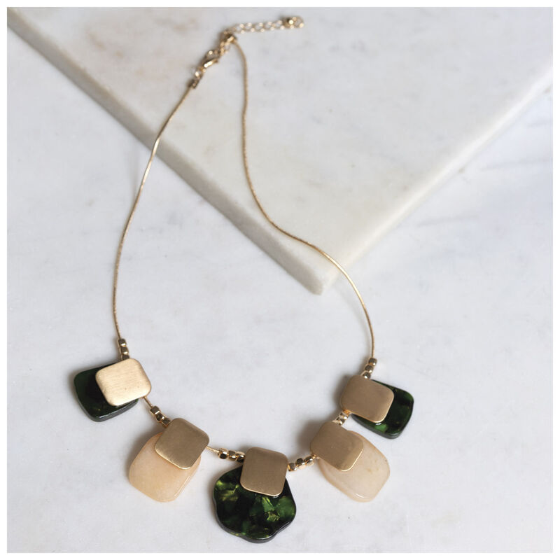 Stone & Metal Bib Necklace -  gold-pink