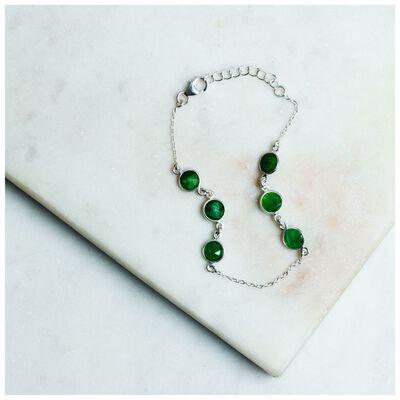Emerald & Silver Droplet Bracelet