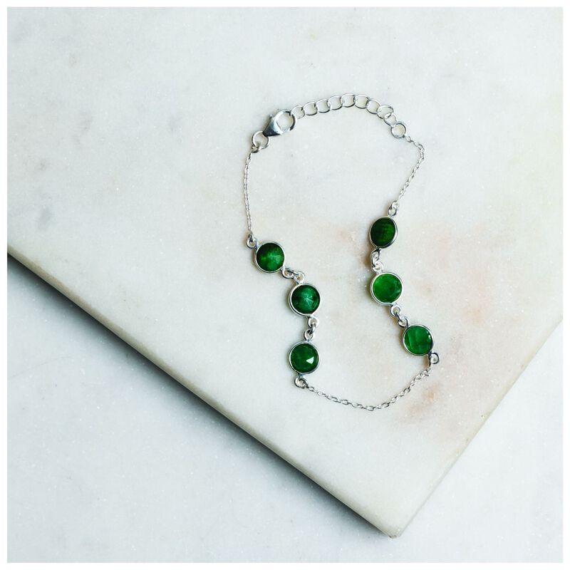 Emerald & Silver Droplet Bracelet -  green-silver
