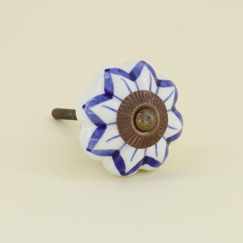 Shibori Knob -  blue-white