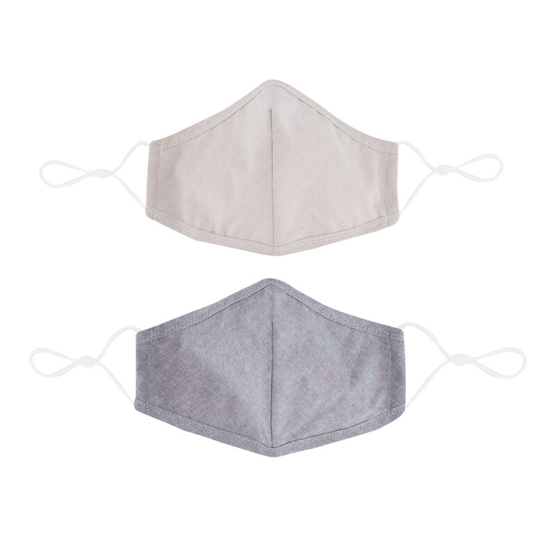 2-Pack Plain Fabric Face Masks -  assorted