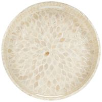 Round Mother of Pearl Tray -  white-oatmeal
