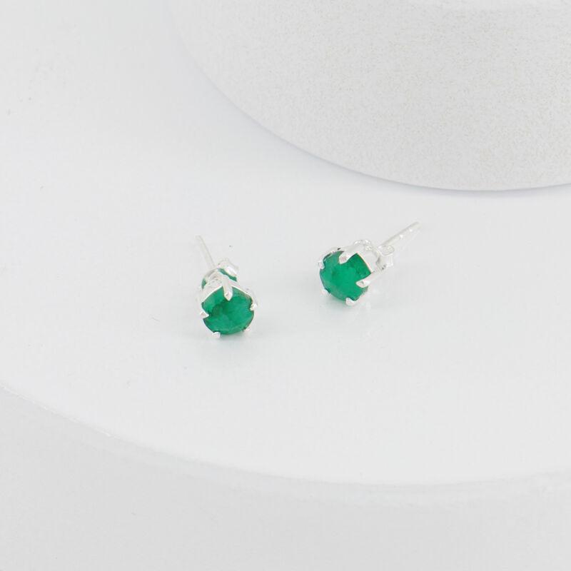 Emerald Domed Silver Stud Earrings -  c69