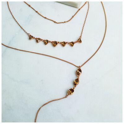 Dainty Crystal Trio Y-Chain Necklace