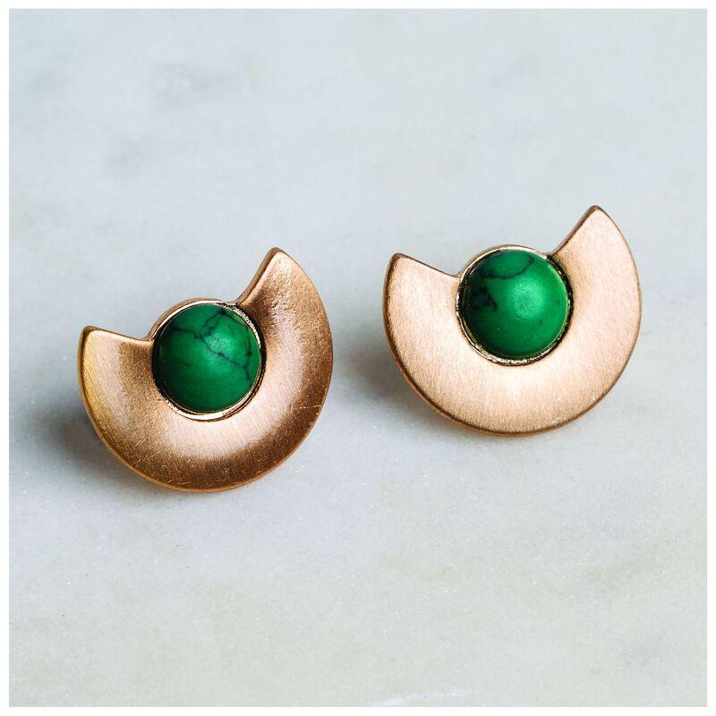 Half Fan Stone Stud Earrings -  gold-emerald