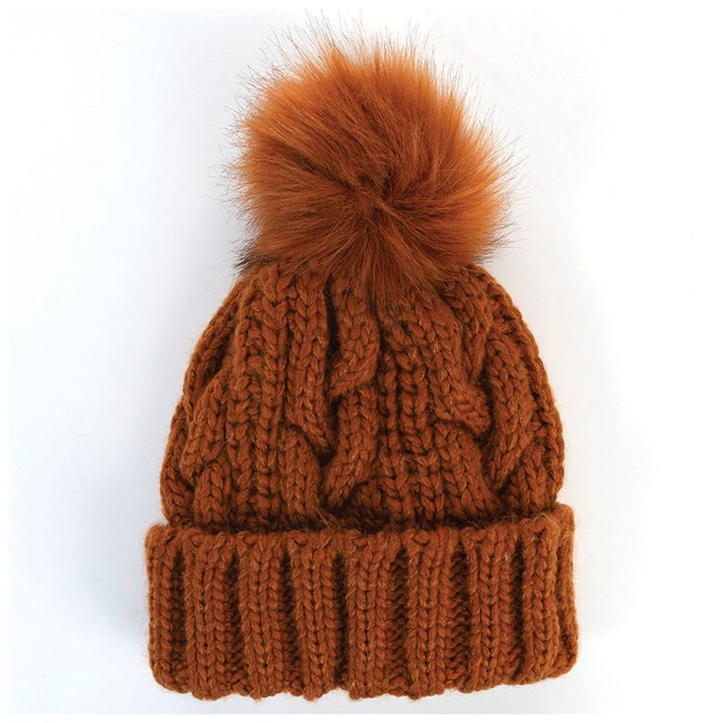 Jaelyn Cable Beanie with Fur Pom Pom -  brown