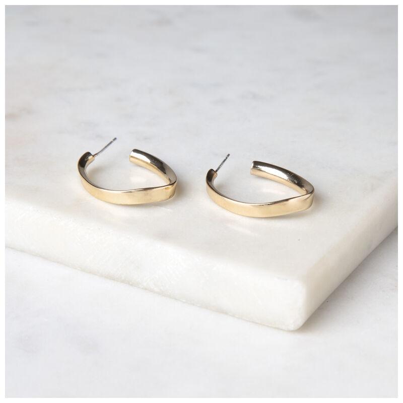 Oval Twisted Metal Hoop Earrings -  gold