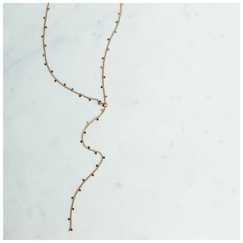 Mini Disk Detail Y-Chain Necklace -  gold