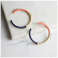 Thread & Bead Hoop Earrings -  coral-blue