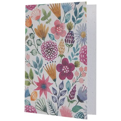 Multi Pinks Floral Growing Paper Card