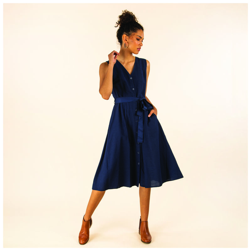 Sora Fit & Flare Linen Dress -  navy