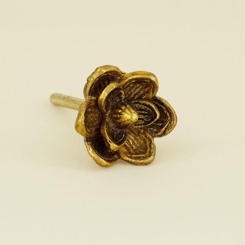 Brass Flower Knob -  gold