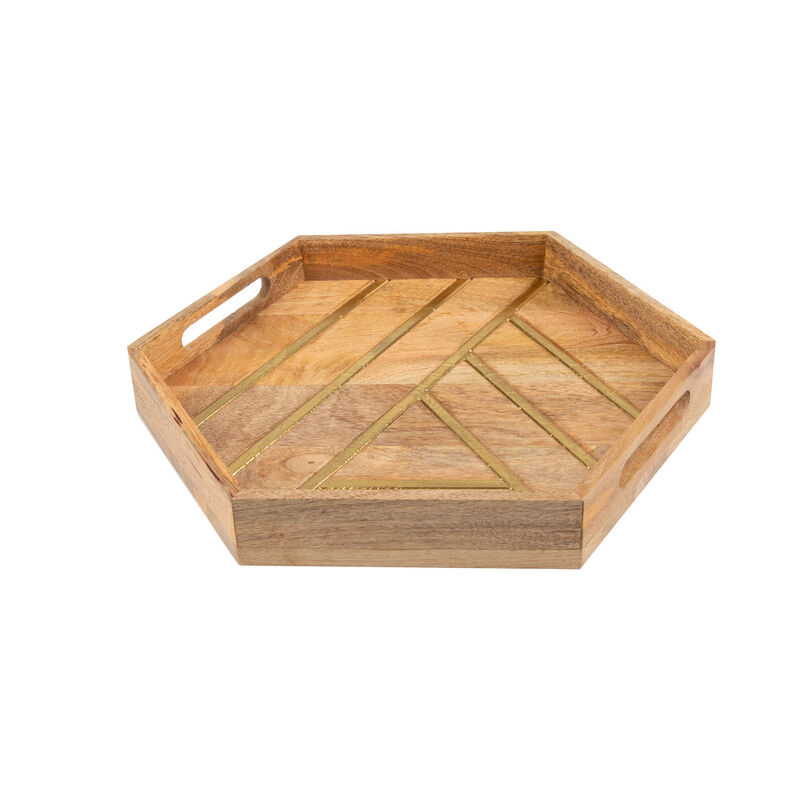 Wood & Brass Tray -  brown-gold