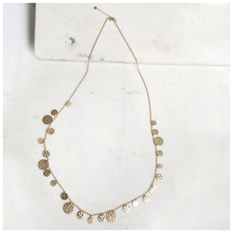 Scattered Disc Strand Necklace -  gold