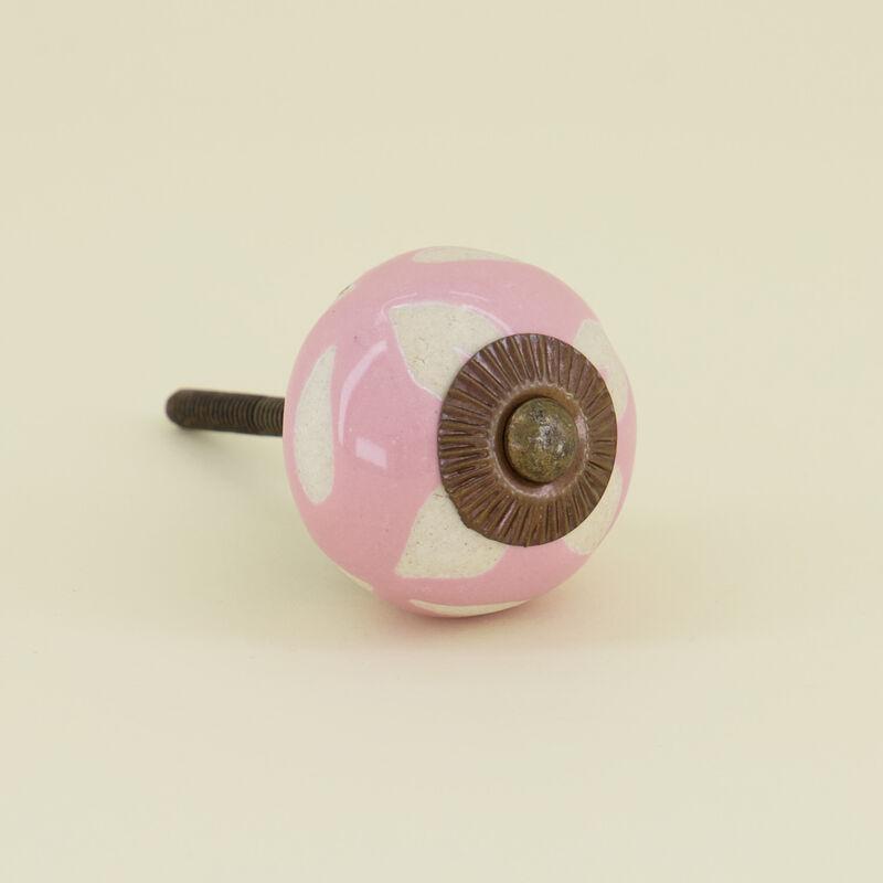 Pink Etched Ceramic Knob -  pink-white