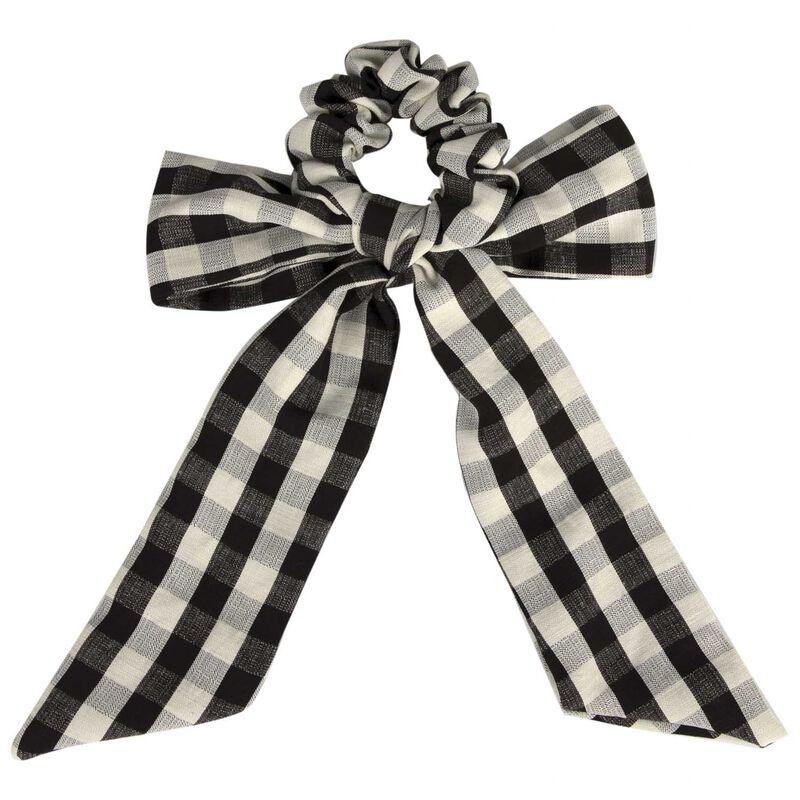 Meya Gingham Hair Tie -  black-milk