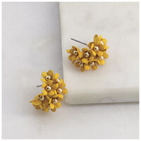 Clustered Floral Epoxy Hoop Earrings -  yellow-gold