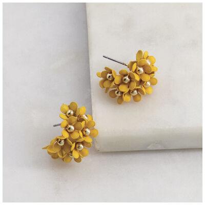 Clustered Floral Epoxy Hoop Earrings