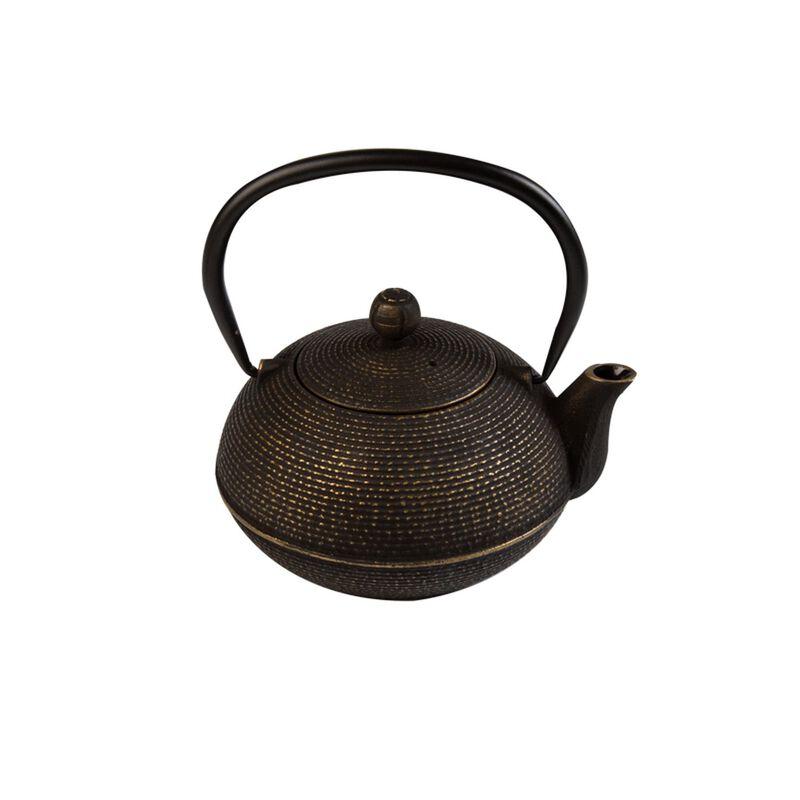 Black Ribbed Cast Iron Teapot -  black