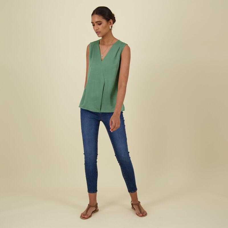Hannah Mixed Media Blouse -  green