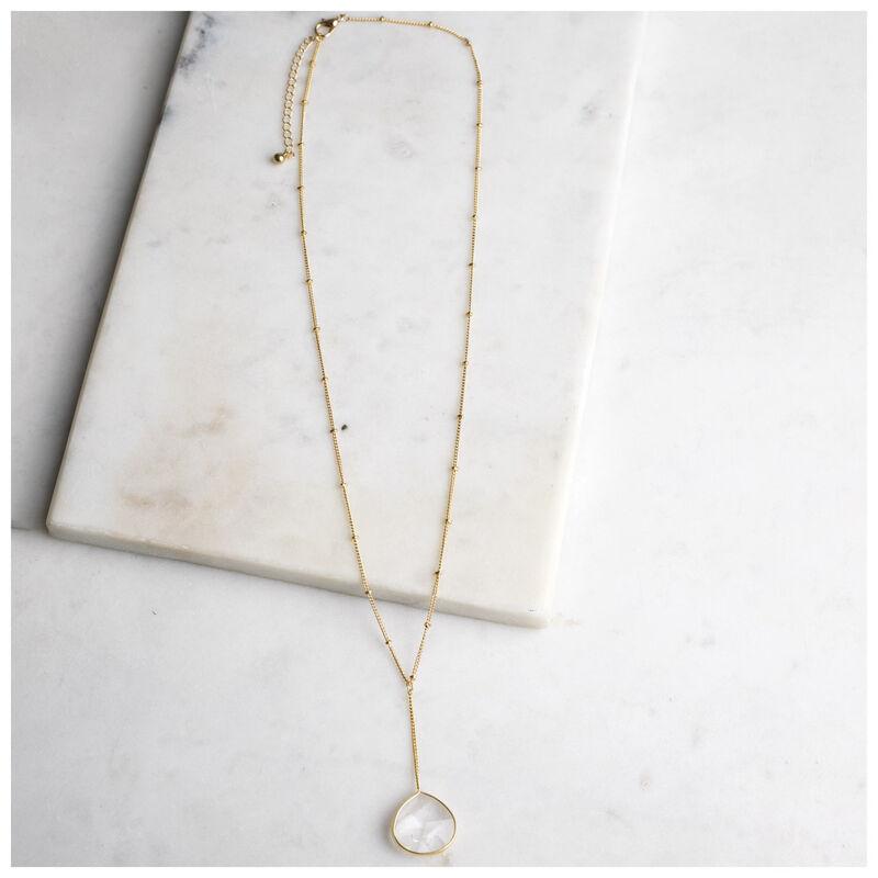 Natural Stone Y-Drop Necklace -  gold-milk