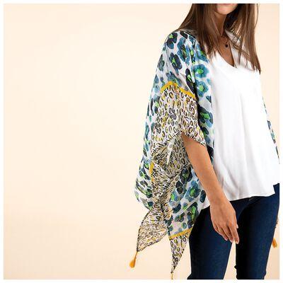 Reina Animal Print Silk Kimono
