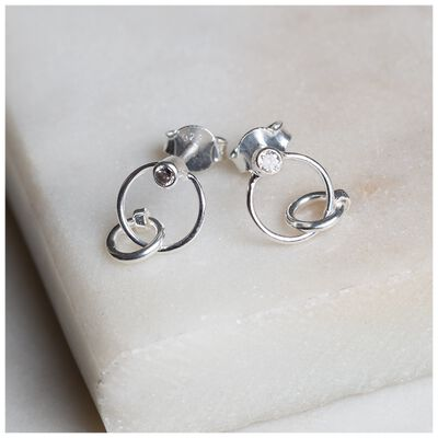 Silver and Cubic Zirconia Circle Stud Earrings