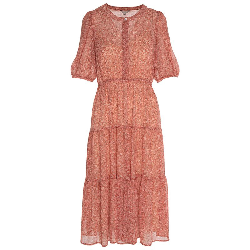 Rosalia Tiered Shirt Dress -  rust