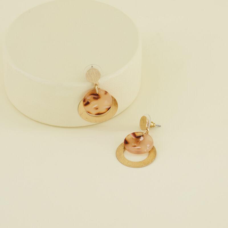 Circular Layered Drop Earrings -  gold-nude