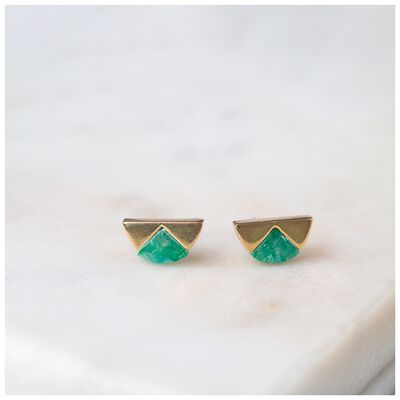 Emerald & Gold Halfmoon Earrings