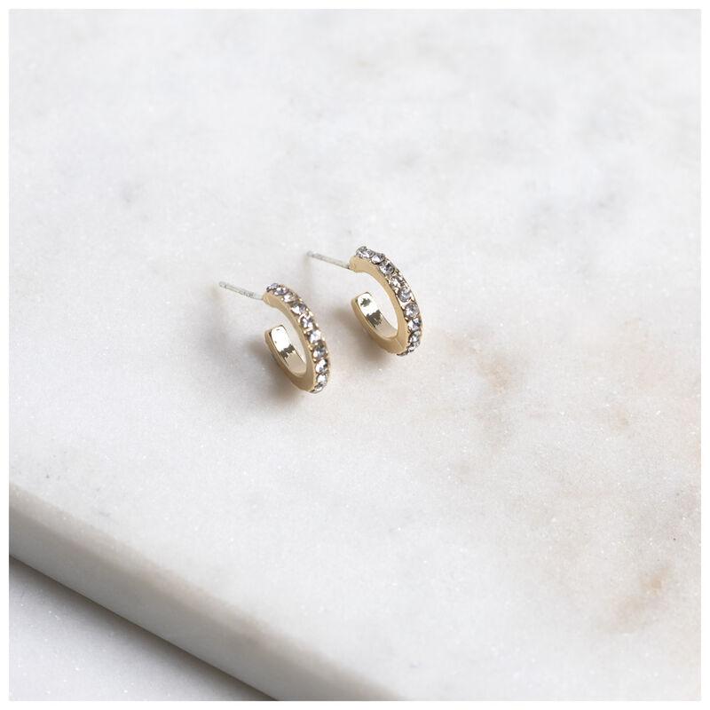 Pave Mini Hoop Earrings -  gold