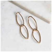 Long Link Earrings -  gold