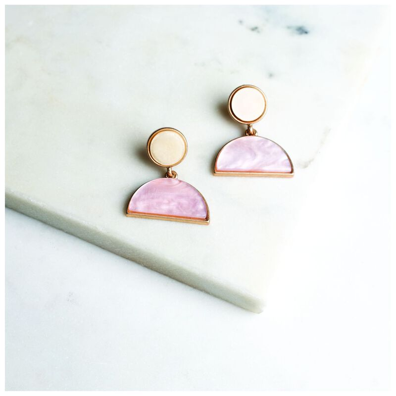 Geometric Half-Moon Drop Earrings -  gold-pink