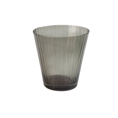 Smoke Ribbed Short Glass