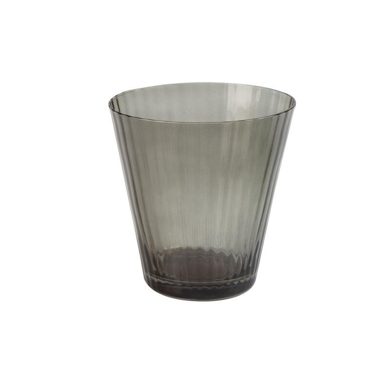 Smoke Ribbed Short Glass -  grey