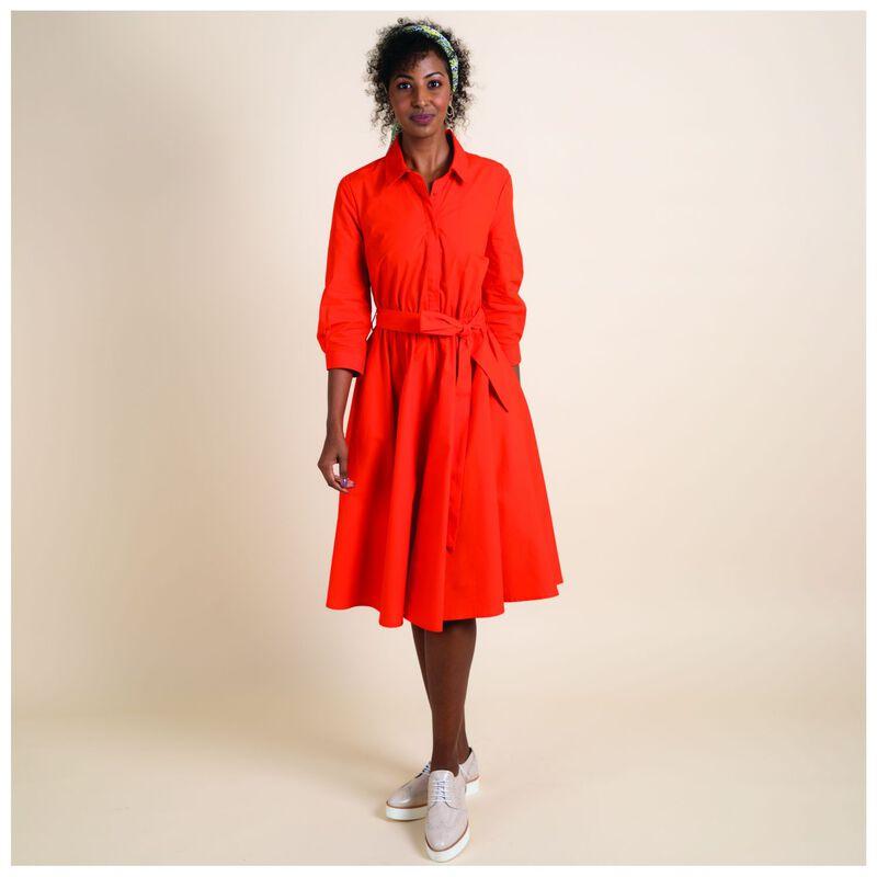 Sacha Poplin Shirt Dress -  orange