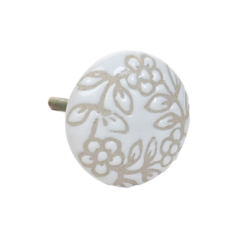 White and Cream Etched Knob -  white-cream