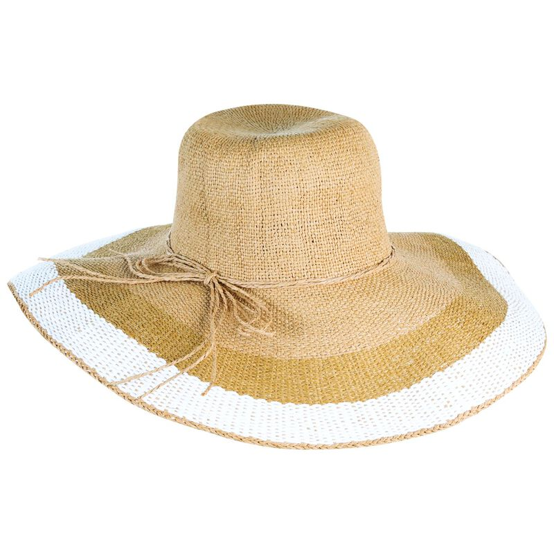 Gigi Wide Brim Striped Edge Hat -  oatmeal-white