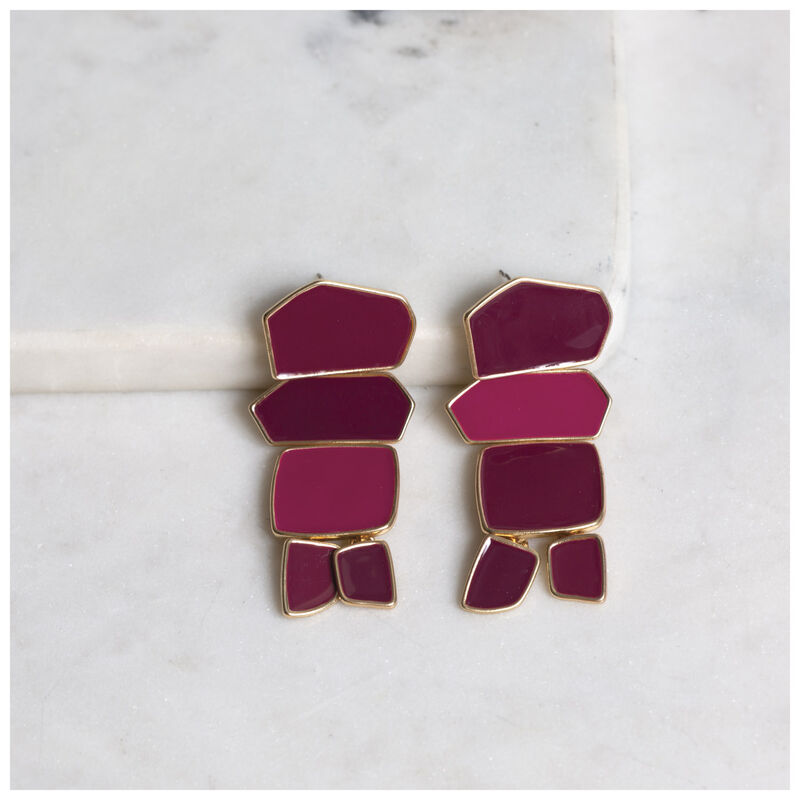 Geometric Resin Drop Earrings -  gold-red