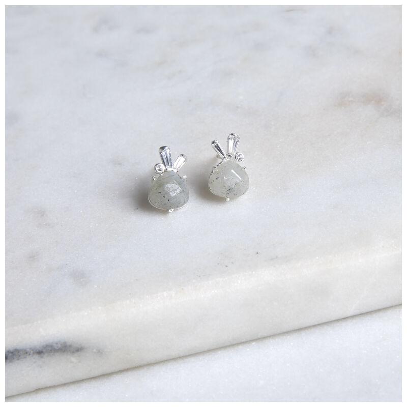 Silver Grey Moonstone Stud Earrings -  silver-grey