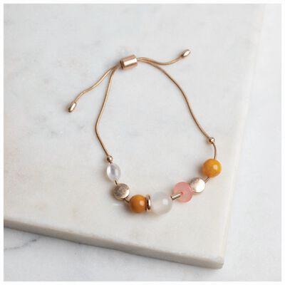 Stone & Metal Bead Adjustable Bracelet